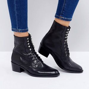 ASOS Aileen Leather Lace Up Boots - Black
